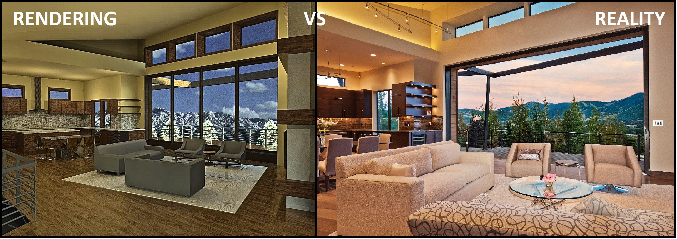 Rendering vs Reality Great Room